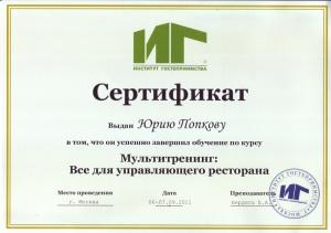 Сертификат ИГ 600