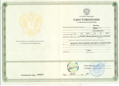 УДОСТОВЕРЕНИЕ бизнес-тренер ПОПКОВ ЮРИЙ АЛЕКСАНДРОВИЧ